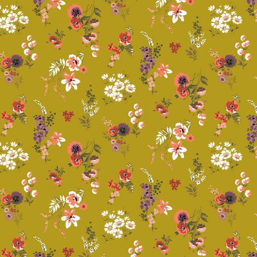 Alma, Laminat/Wachstuch, Wiesenblumen auf senf