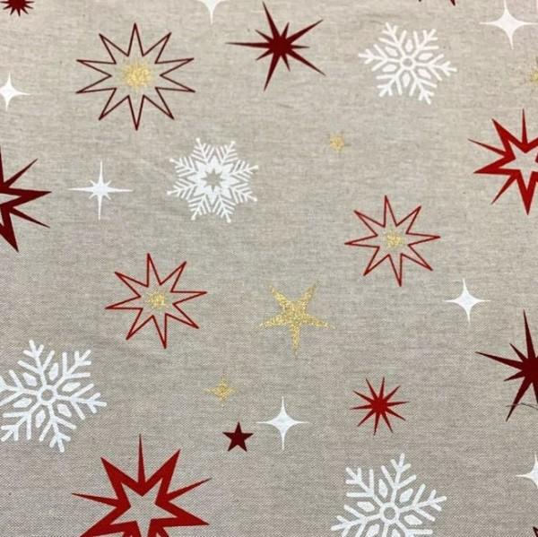 Dekostoff Weihnachtssterne rot/weiß/gold auf leinen