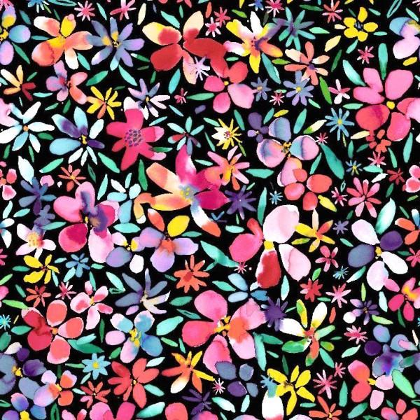 Petal Flowers bunt auf schwarz, Baumwoll-Popeline