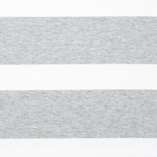 Jersey, Blockstreifen offwhite auf grau-meliert