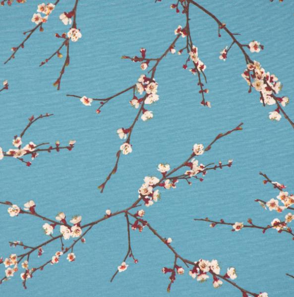 Dekostoff Kirschblüten auf blau