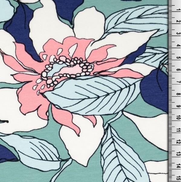 Kuschelsweat Flowers mint/rosa