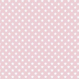 Lili Mini Stars, weiß auf rosa, Webstoff, waschbar bei 60°