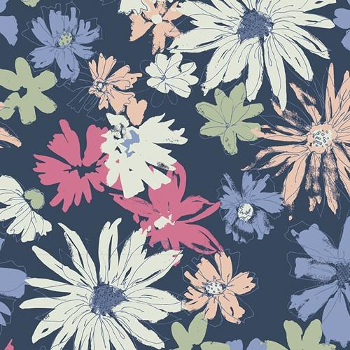 Art Gallery Sketchbook, Flowers blau, Webstoff