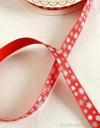 Schneeflocken, weiß auf rot, Ripsband