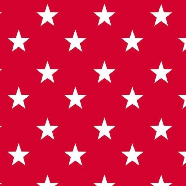 Lili Big Star weiß auf rot, Webstoff, waschbar bei 60°