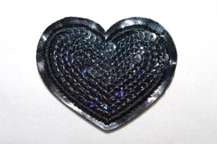 Applikation Herz mit Pailletten, schwarz