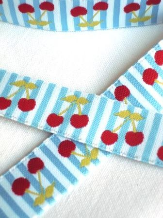 Kirschen, blau, Webband