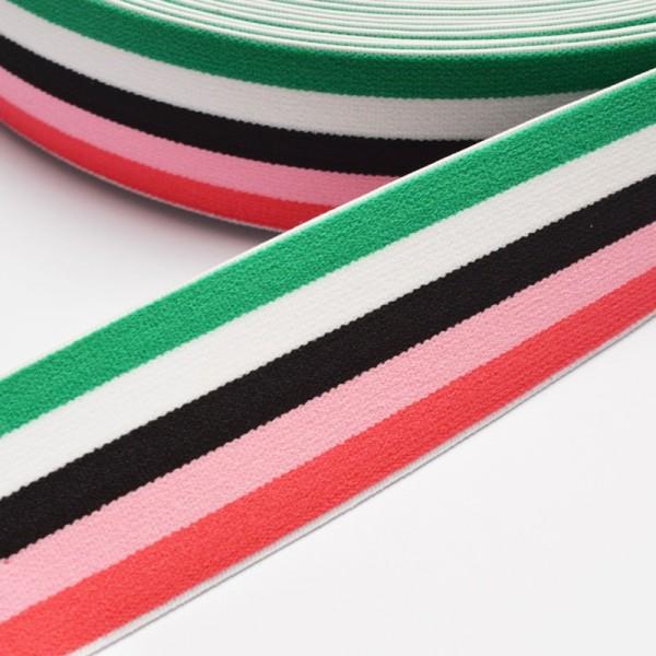 Gummiband breit, Streifen grün-weiß-schwarz-rot