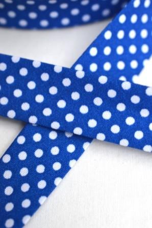 Schrägband, gepunktet, weiß auf royalblau
