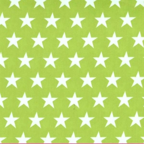Alex, beschichtete Baumwolle, Sterne weiß auf hellgrün
