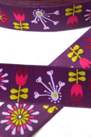 Blumen, lila, Webband breit