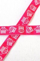 Eulen, pink, Stoffband