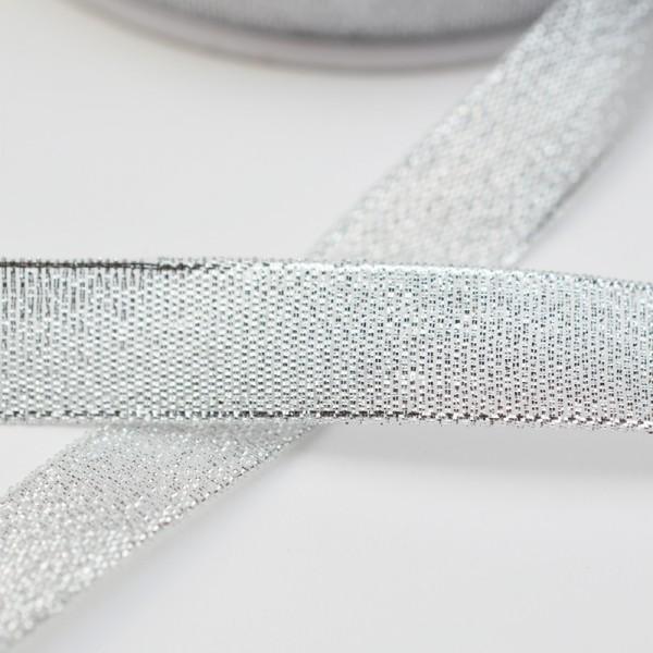Metallic silber, 15 mm, Dekoband