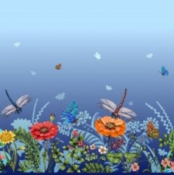Stenzo Digitaldruck Mohnblumen&Libellen blau Bordüre, Jersey