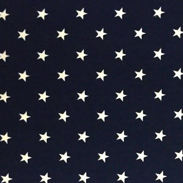 Sternchen klein, weiß auf dunkelblau, Jersey