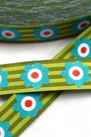 Flowersandstripes, grün, Webband