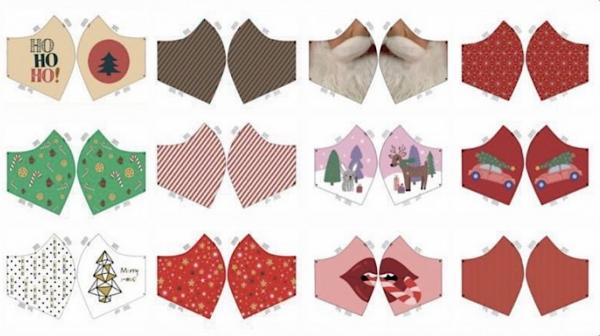 Maskenstoff Christmas rot, für 12 Masken, Paneel, Baumwollstoff, waschbar bei 60°