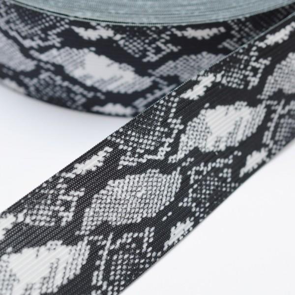 Gummiband breit, Animalprint Schlangenoptik, schwarz