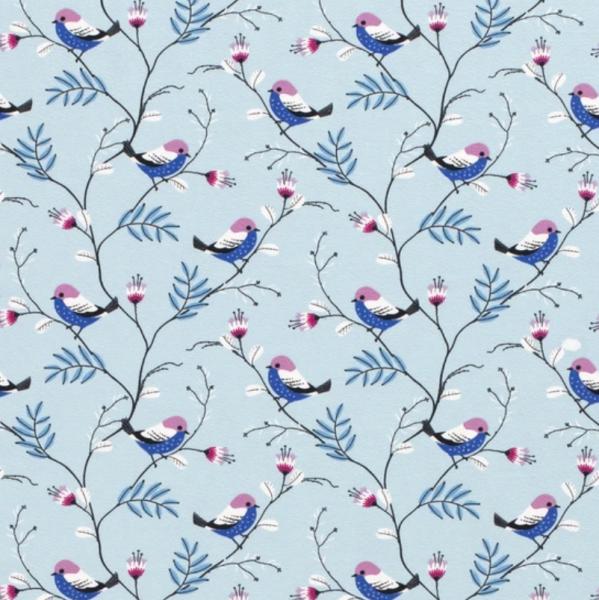 Vögelchen am Zweig hellblau, Jersey