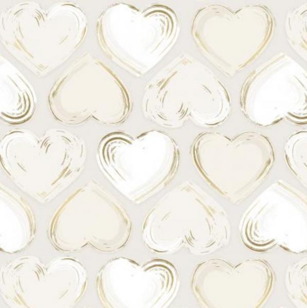 Shiny Objects, Locket, Herzen gold/offwhite, Webstoff