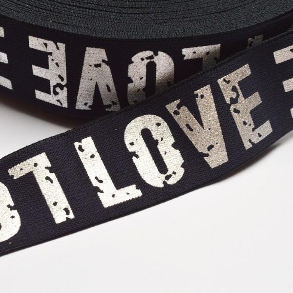Gummiband breit, Love dunkelblau