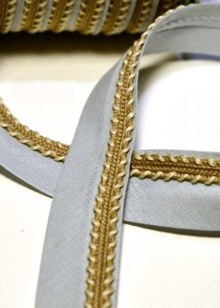 Schrägband mit goldener Borte, grau