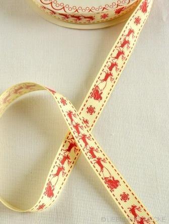 Rentierschlitten, rot auf weiß, Ripsband