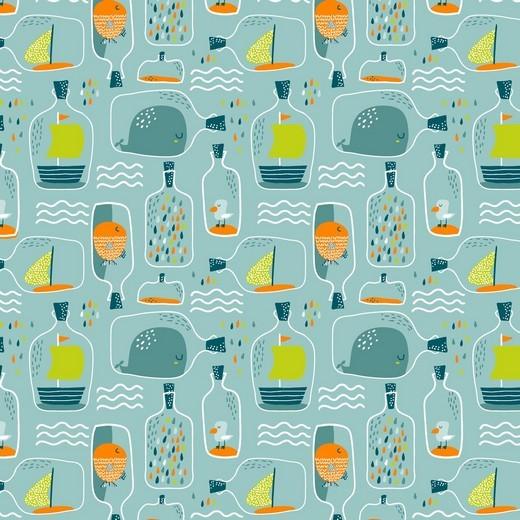 Flaschenpost auf mint, Baumwoll-Popeline, 60°waschbar
