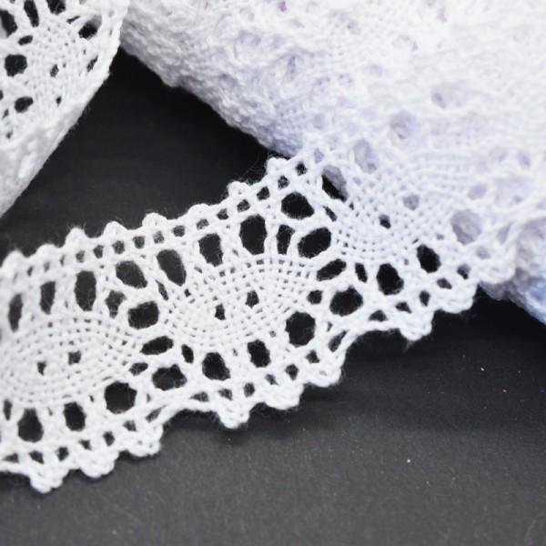 Klöppelspitze aus Baumwolle, weiß, Ruth, 30 mm