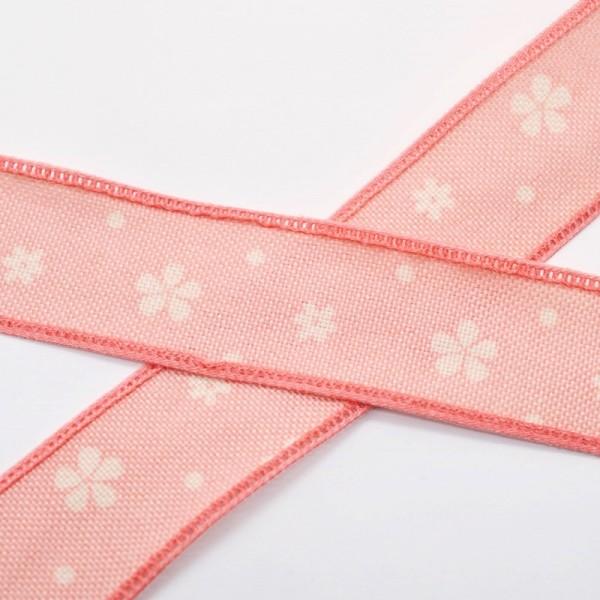 Blumen und Punkte, rosa, Baumwollband