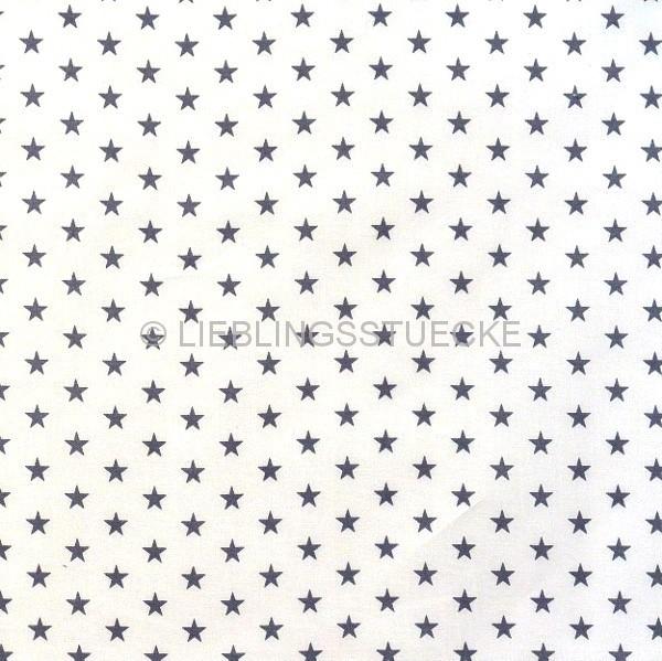 Lili Small Star dunkelblau auf weiß, Webstoff, waschbar bei 60°