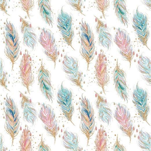 Bio-Sweat, Digitaldruck Feathers weiß