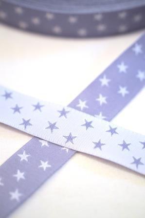 Sterne, flieder-weiß, Webband *SALE*