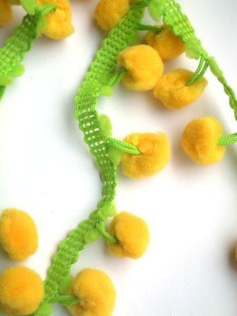 Pommerlborte, zweifärbig gelb-grün