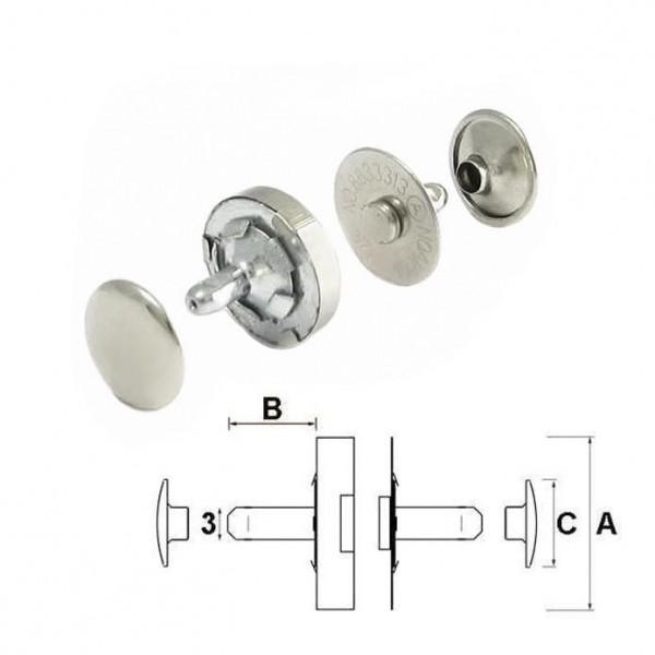 Nieten-Magnetverschluss, 10 mm, silber