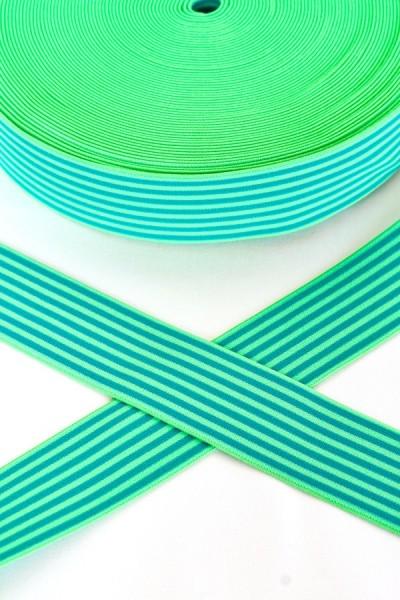 Gummiband breit, Streifen grün-hellgrün
