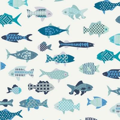 Art Gallery, Catch&Release, School of Fish, white, Baumwollstoff