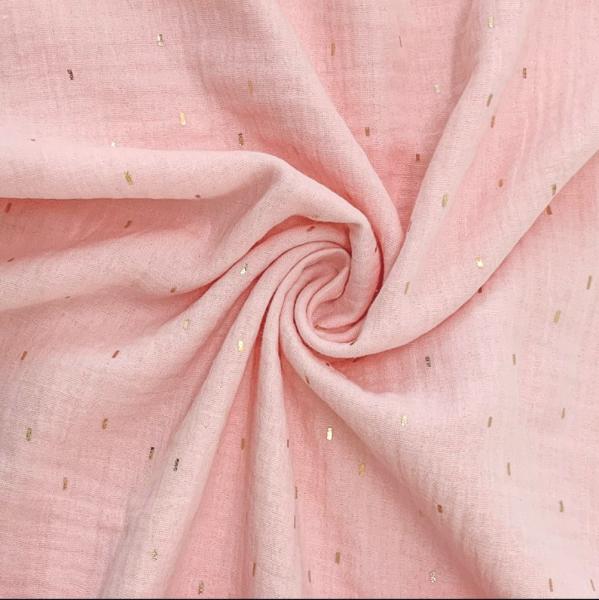 Double Gauze/Musselin, Foil Stripes glitzer auf rosa