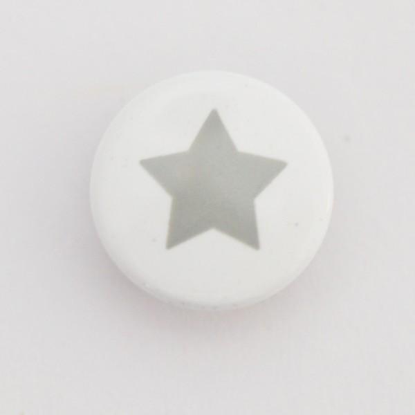 Druckknopf, Stern grau auf weiß, 10 mm