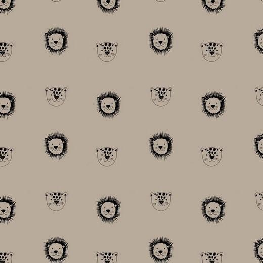 BIO-Baumwolllstoff, Kleiner Löwe helles taupe, waschbar bei 60°