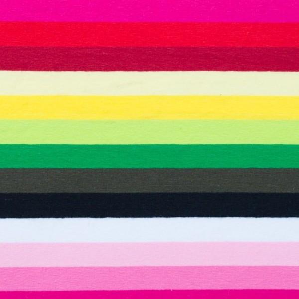 Jersey, Bunte Streifen pink/grün/gelb