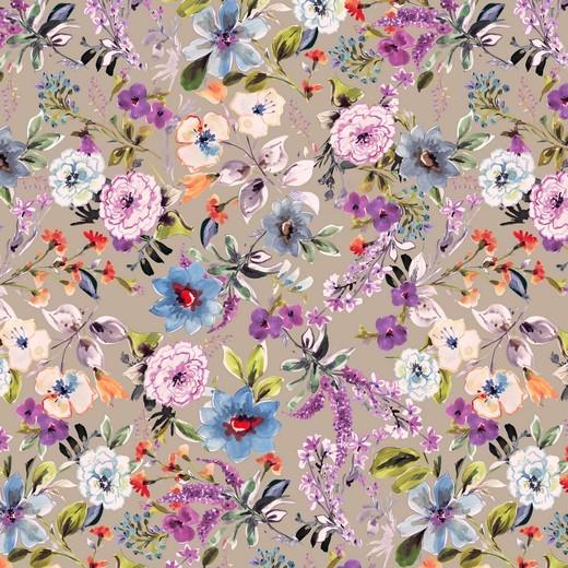Digitaldruck Wunderblumen sand, Viskosejersey