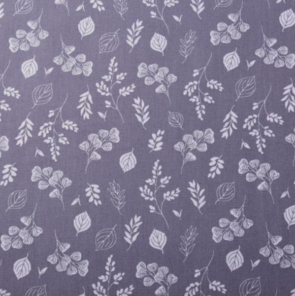 Botanical Flowers grau, Baumwollpopeline