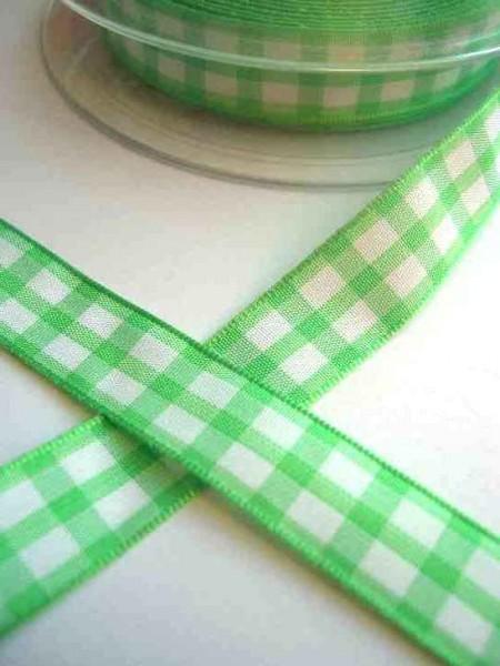 Stoffband, hellgrün kariert (groß), 15 mm