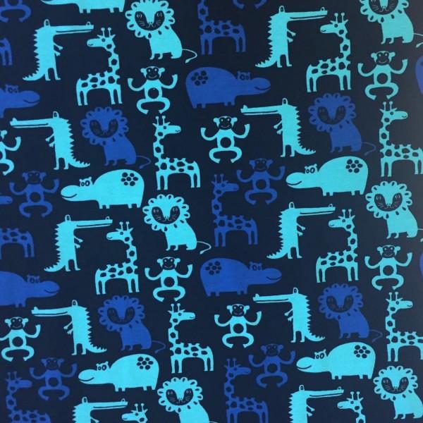 Zootiere dunkelblau mit türkis, Jersey