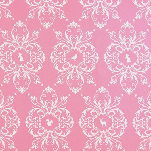 Gütermann French Cottage, Muster mit Tieren auf rosa, Popeline