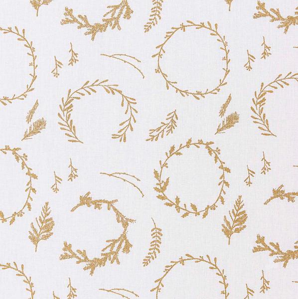 Gold-Kränze auf weiß, Baumwollstoff