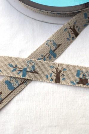 Stoffband, Herbstszene mit Eichhörnchen, braun *SALE*