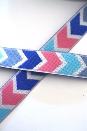 Chevron, blau-türkis-rosa, Webband *Letzte 2,9 m*